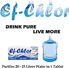 Ef-Chlor Water Purifying Tablets, Kills 99.99% Bacteria and Viruses, 3 Years Shelf Life, Each Tablet for 20-25 L, 167 mg - Pack of 100