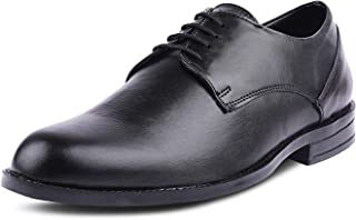 Kanprom Men's Black Genuine Leather Formal Derby Round Toe Lace-Up Classic Shoes