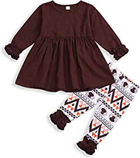 Thanksgiving Outfits Toddler Baby Girls Clothes Ruffle Sleeves Top Dress+Turkey Print Pants Set