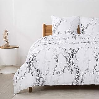 Bedsure Baumwolle Bettwäsche 200x200 cm mit schickem Marmor Muster Schwarz und Weiß, 3 teilig weiche Bettbezüge Set mit Reißverschluss und 2 mal 80x80cm Kissenbezug