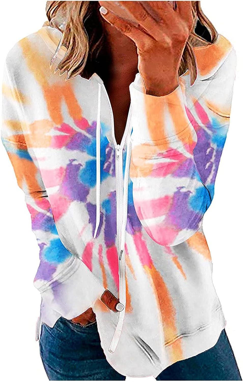 SPOORYYO Women Casual Full Zip Up Hoodie Pullover Comfy Loose Tie Dye Solid Sweatshirt Long Sleeve Activewear Running Jacket