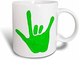 3dRose Love Hand Sign Language in Green Ceramic Mug, 15-Ounce