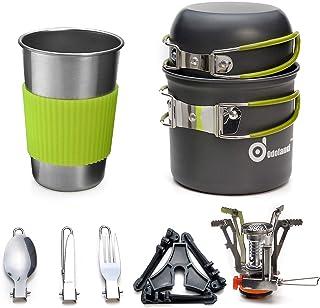 Odoland Utensilios Cocina Camping Kit con 1.2 L Ollas Camping y 0.6 L Sartén de Aluminio, Estufa Trekking, Taza de Acero Inoxidable, Cubiertos Plegable - Cacerolas de Acampada de Camping y Viaje