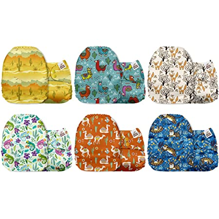 Flower Power Mama Koala One Size Baby Washable Reusable Pocket Cloth Diapers 6 Pack with 6 One Size Microfiber Inserts