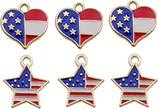 iloveDIYbeads 40pcs Mixed Heart Star American Flag Charms Pendant Patriotic Enamel Charms for 4th Independence Day Ornamen...