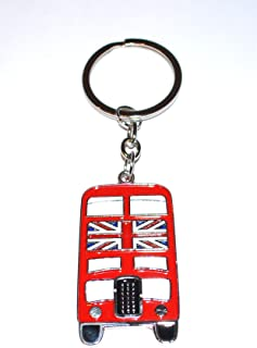 Red London Bus With Union Jack Flag Novelty Keyring / Keychain (kr02)