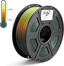 Zi-Rui 3D Printer PLA Filament, Tri Color Changing with Temperature, Pine Green to Light Orange to Yellow,1.75mm (+/- 0.03mm),2.2LBS(1KG)