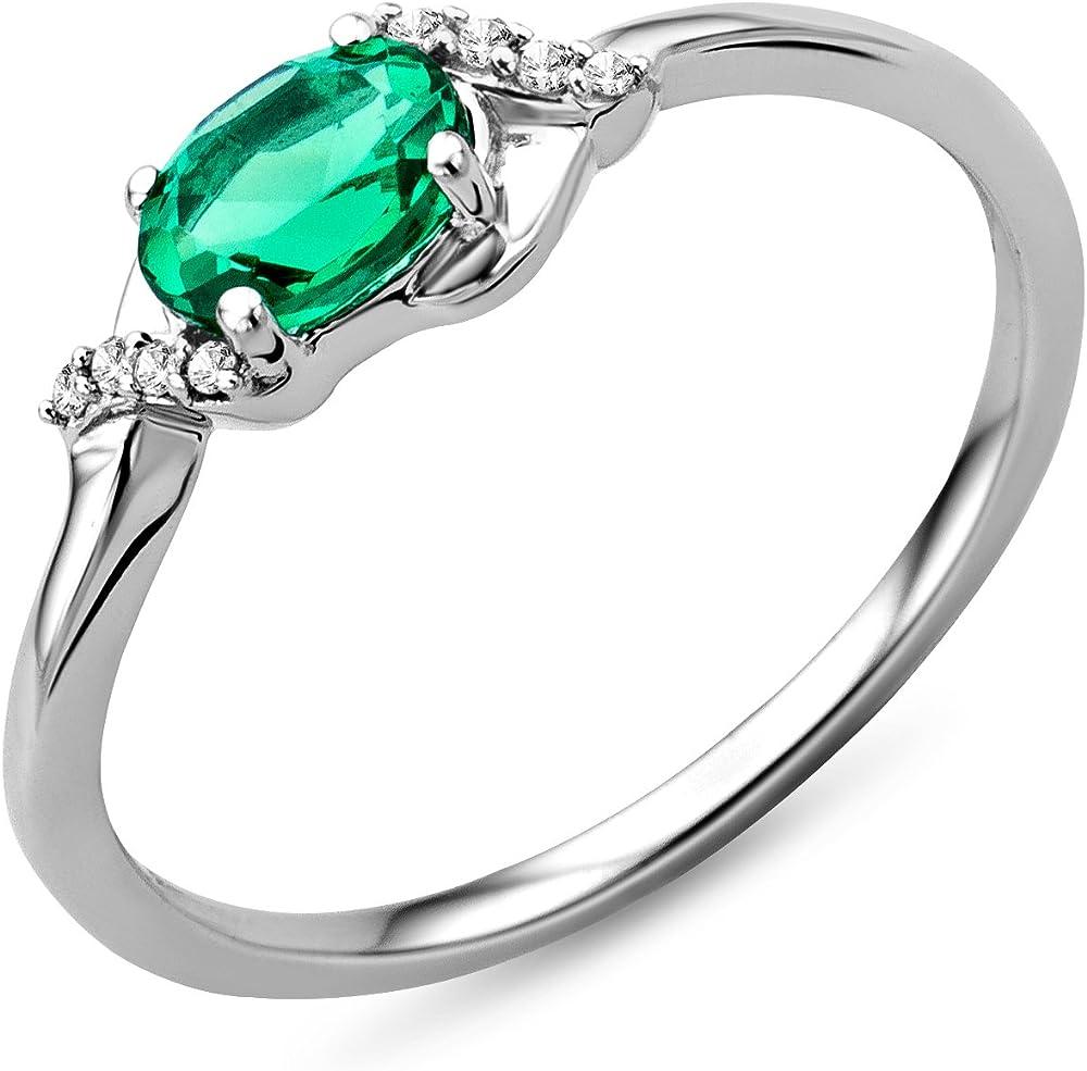 Miore anello donna in oro bianco 9 kt / 375 (1.3 grammi) e smeraldo diamanti taglio brillante ct 0.03 SA9040RM