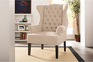 Baxton Studio Wholesale Interiors Knuckey French Country Beige Linen Nail Head Wing Back Armchair, Large