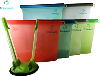 Freshseal Reusable Silicone Bags with BONUS Adjustable Stand - Air Tight Seal for Food and Liquid