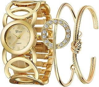 Conjunto de Reloj de Cuarzo de Moda Diamante, Acero de Pulsera de Tres Piezas con