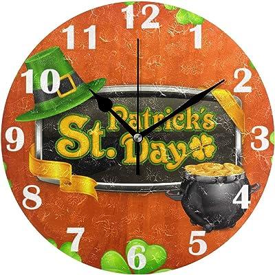 Happy St Patrick Day Irish Wall Clock Silent Non Ticking Shamrock Clover Leaf Leprechaun Gold Coins Clocks Battery Operated Vintage Desk Clock 10 Inch Quartz Analog Quiet Bedroom Living Room Home Dec