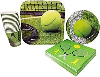 Tennis Party Supplies (65+ Pieces for 16 Guests!), Tennis Birthday, Sports Tableware and Table Decorations