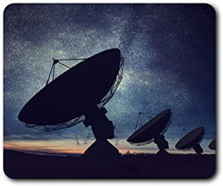 Comfortable Mouse Mat - Satellite Dish Night Sky 23.5 x 19.6 cm (9.3 x 7.7 inches) for Computer & Laptop, Office, Gift, Non-Slip Base - RM3642