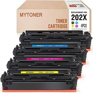 MYTONER Compatible Toner Cartridges Replacement for HP 202X CF500X 202A CF500A Toner for HP M281fdw Laserjet Pro M254dw MFP M281cdw M281fdw M281dw M280nw M254 M281 Toner Printer Ink (KCMY-4 Pack)