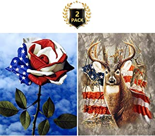 Yomiie 5D Diamond Painting American Flag Rose & Deer Full Drill by Number Kits for Kids Adults, DIY Paint with Diamonds Art Rhinestone Embroidery Decor (12x16inch, 2 Pack)