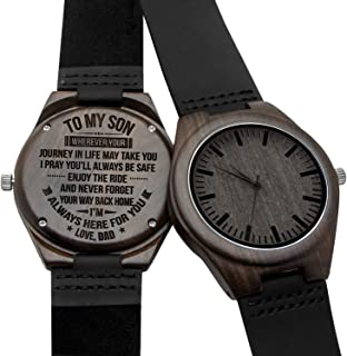 Engraved Personalized Mens Wooden Watch Lightweight Black Leather Strap Analog Quartz Movement Wristwatches for Son and Father Gifts