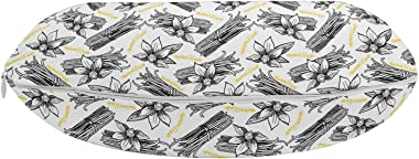 "Lunarable Vanilla Travel Pillow Neck Rest, Repeating Exotic Spices Sticks and Flowers with Written Name, Memory Foam Traveling Accessory for Airplane and Car, 12"", Charcoal Grey Yellow"