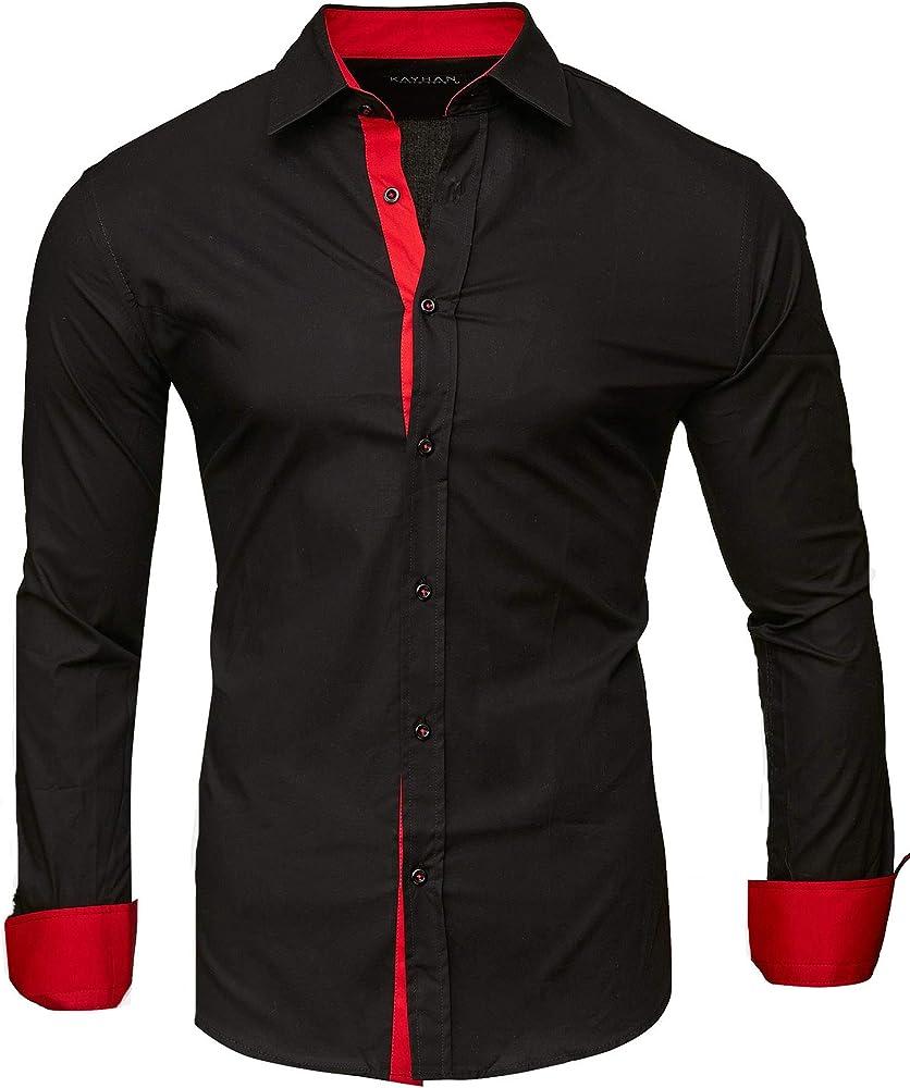 Kayhan originale camicia a maniche lunghe da uomo 97% cotone 3% elastan A-TwoFace-0000115a5