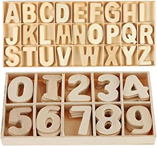 216-Pcs Wooden Letters and Numbers Set- Wooden Capital Letters Numbers with Storage Tray - Wooden Alphabet Craft Letters Smooth Natural Wooden Numbers for Arts Crafts DIY Wedding Display Decor