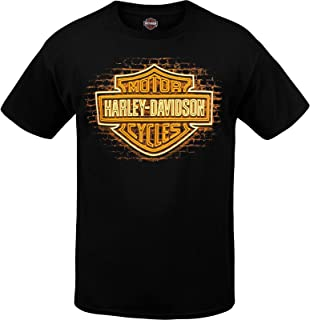 HARLEY-DAVIDSON Military - Men's Black Graphic Bar and Shield T-Shirt - USAG Wiesbaden | BS Neon