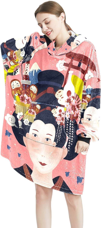 Cozy Oversized Maternity Hoodie Beautiful Geish gift Blanket Ranking TOP1 Japanese