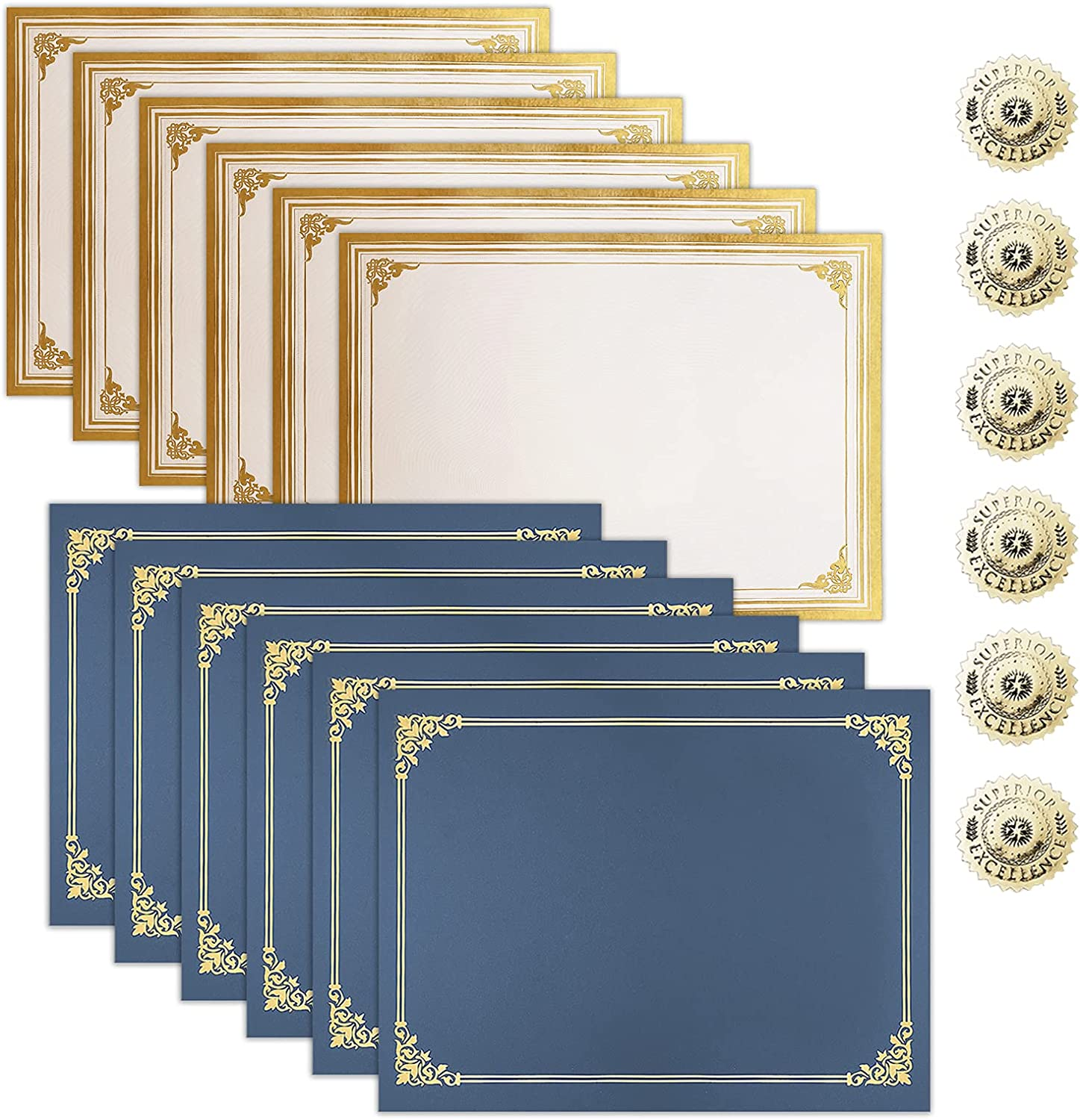 SUNEE Certificate Kit (6 Packs), Navy Blue Certificate Holders & Letter Size Certificate Papers & Gold Foil Award Seals, Certificate Paper and Holder Set for Diploma, Award, Accomplishment