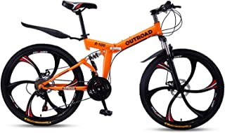 Outroad Mountain Bike 26in 21 Speed Double Disc Brake Folding Bike Commuter Bicycle, Black, Orange, Yellow