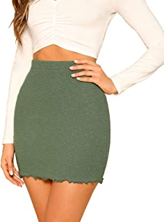 Women's Ribbed-Knit Stretchy Cotton Short Mini Pencil Bodycon Skirt