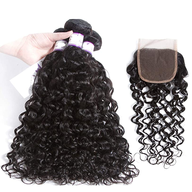 完璧なチャネル錫かつら マレーシア水波4 * 4閉鎖人間の髪の毛の束閉鎖人間の髪の毛の織り方 (Length : 20 22 24 Cl18, Part Design : FREE PART)