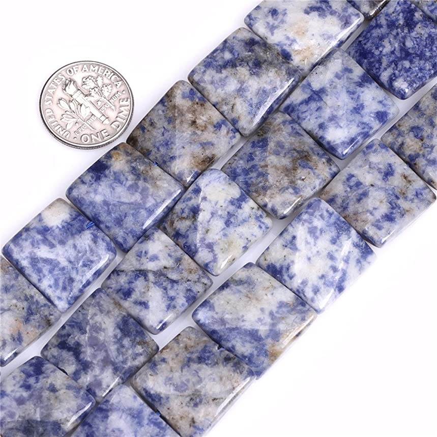 JOE FOREMAN 16mm Sodalite Semi Precious Gemstone Square Wave Loose Beads for Jewelry Making DIY Handmade Craft Supplies 15
