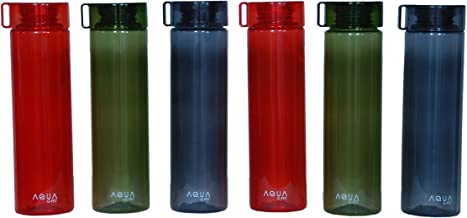 G-Pet Go Aqua Plastic Fridge Water Bottle Set (6 Pieces, 1 Litre, Multicolour)