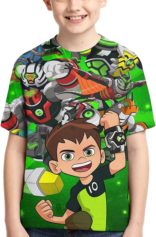 3D Print Summer Ben 10 T-Shirt Graphic Tee Shirts for Teen Girls and Boys