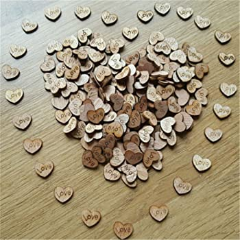 200pcs Rustic Wooden Love Heart Wedding Table Scatter Decoration Crafts Children's DIY Manual Patch