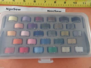 NGOSEW Box 28 Plastic Bobbins with Color Thread for Viking Emerald 116 118 183 Sewing Machines