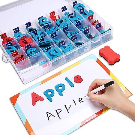 Hautton Juego de Letras Magnéticas ABC, 238 Piezas de Números de Alfabeto de Espuma Movibles con 2 Tableros Magnéticos, 3 Bolígrafos, Borrador, para niños Aprendizaje de Ortografía -Azul