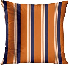 Peyqigo Throw Pillow Cover 20x20 Inch Retro Stripe Pattern Navy Blue White Orange Polyester Square Cushion Bedroom Couch Sofa Car Decorative Pillowcase