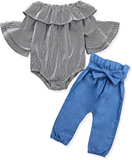 Newborn Baby Girl Clothes Flare Romper + Floral Pants 2PCS Winter Outfit Set