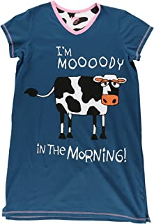 Moody in The Mornings Women's Animal Pajama Nightshirt by LazyOne | Cute Animal Nightgowns for Ladies (L/XL)