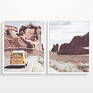 Vintage Classic Antique Van in Arizona Photography Prints, Set of 2, Unframed, Arizona Adventure Wall Art Decor Poster Sign, All Sizes