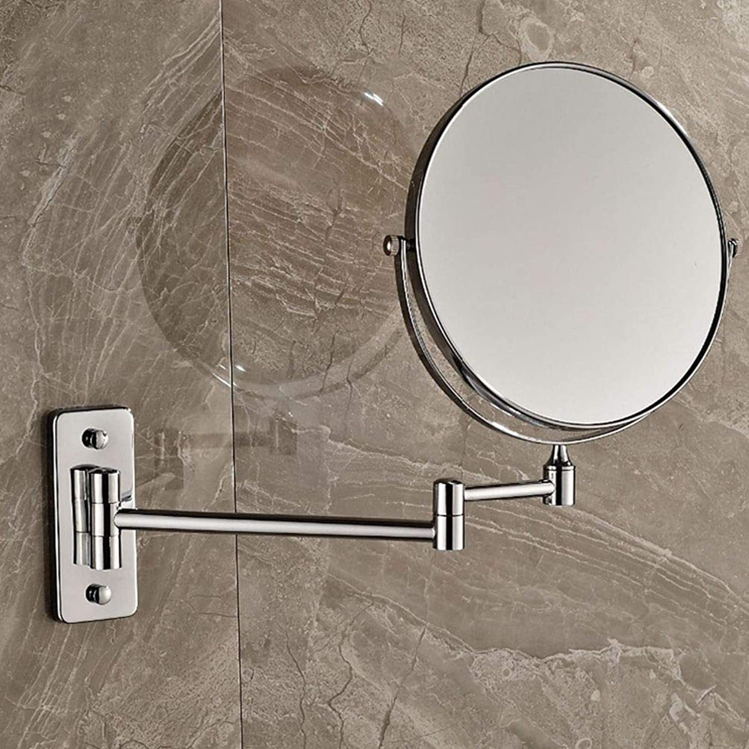 LUDSUY Wall Mounted Chrome 8'' Mirror Makeup Mirror Dual Sides Round Mirror Magnifying MirrorBathroom Accessories