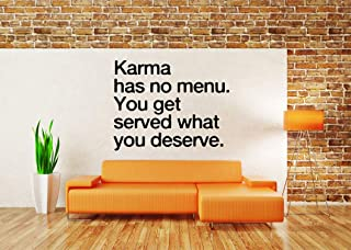 Vinyl Sticker Quote Phrase Karma Has No Menu You Get Served What You Deserve Mural Decal Wall Art Decor EH1759
