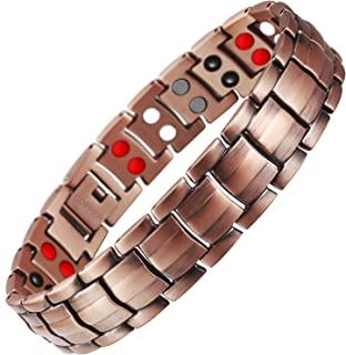 Hottime Double Row Pure Copper Magnetic Therapy Bracelet Pain Relief for Arthritis and Carpal Tunnel