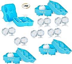 Ice D - Moldes de Hielo Esférico de Gran Tamaño, 4 x Máquinas de Bolas de Hielo, Produce 16 Esferas de Hielo, Perfecto para Scotch, Whiskey, Gin, y Refrescos