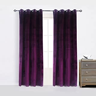 Cherry Home Set of 2 Blackout Velvet Energy Efficient Grommet Curtain Panel Drapes Lavender Purple 52Wx96L(2 panels)Theater| Bedroom| Living Room| Hotel