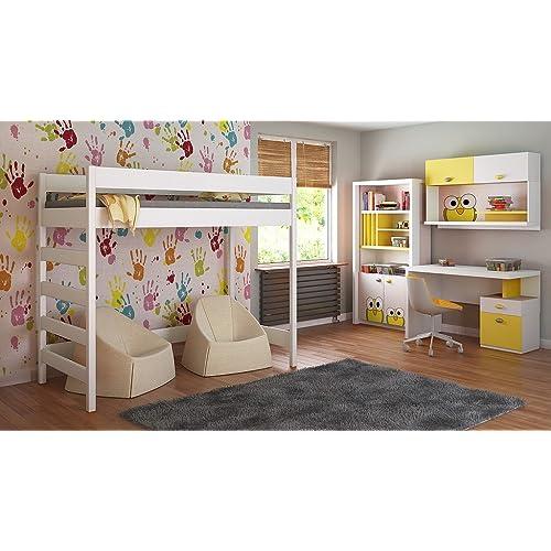 Loft Lits Pour Enfants Enfants Juniors 140x70, 160x80, 180x80, 180x90, 200x90 Pas de matelas inclus et l'échelle est sur le côté (bord court) (200x90, blanc)