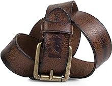 Lois - Cintura per uomo in vera pelle. Fibbia metallica. Effetto craquelure Resistente flessibile e resistente. Larghezza 40 mm. Lunghezza 95/105/115 mm. 501004, Color Marrone