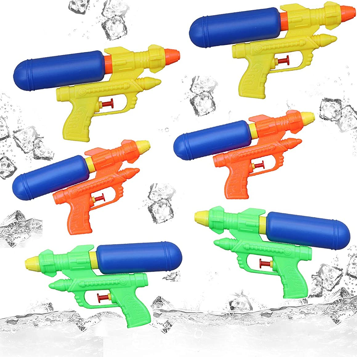 6-Pack Water Gun Blaster Pistol Super Soaker Squirt Guns Set Swimming Pool Water Toys for Kids Outdoor Party Beach Sand Water Fighting