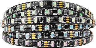 BTF-LIGHTING WS2811 5m 16.4ft 60LEDs/m 20Pixels/m 300LEDs 100pixels IP65 Silicone Coating Waterproof Black PCB Flexible Addressable Strip Light Dream Color DC12V