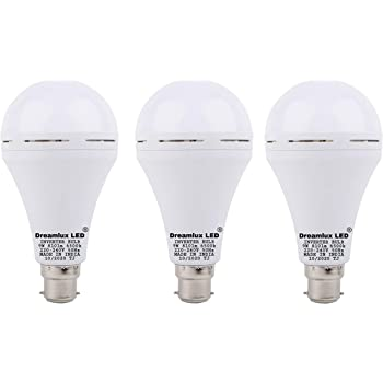 Dreamlux® 9W Inverter Rechargeable Base LED B-22 Ceramic White Emergency Bulb with Up to 4-5 Hours Back Up (Cool Day Light) (Pack of 3)